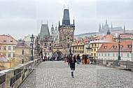 vrouw Karelsbrug Praag Tsjechie